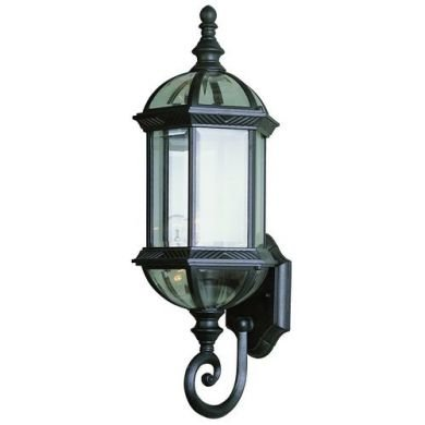 Matte Black Outdoor Wall Lantern with Clear Beveled Glass 4180BK