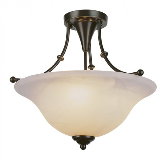 Trans Globe Weathered Bronze Semi-Flush Ceiling Light 6540WB