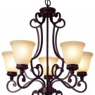 Italian Style 5 Lt Oil Rubbed Bronze Chandelier with Amber Frost Glass 6564ROB
