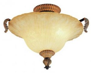 Ebony Gold Semi Flush Ceiling Light with India Scavo Glass 2333EBG