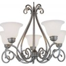 Trans Globe Pewter Finish Chandelier with Marbleized Glass 6395PW