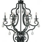 Weathered Bronze Chandelier with Crystal Components 6912WB