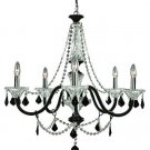 Trans Globe Clear and Black Crystal Five Light Chandelier Astoria-5