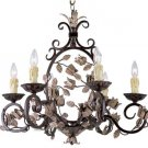 Trans Globe Leaves and Vines Bronze Finish 6 Light Chandelier 7386BZ