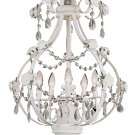 Trans Globe Antique White Crystal Chandelier with Rose Accents KDL-705