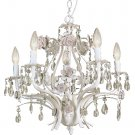 Trans Globe Antique White Crystal Chandelier with Rose Accents KDL-703