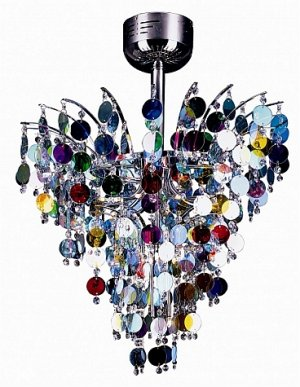 Trans Globe Chrome Pendant with Crystal and Multi Color Glass MDN-532