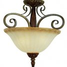 Trans Globe Coffee Finish 3 Light Semi Flush with Scalloped Glass 9473CF