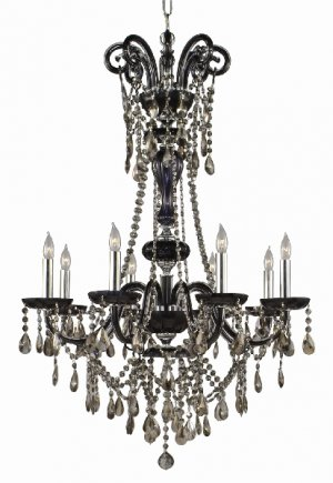 Crystal rope and flutted chandelier arms