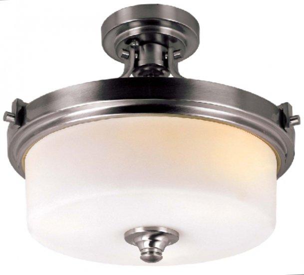 trans globe brushed nickel 3 light semi flush ceiling. Black Bedroom Furniture Sets. Home Design Ideas