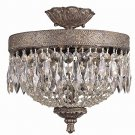 Trans Globe Dark Bronze Semi Flush with Draped Crystal 8392DBG