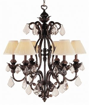 Trans Globe Iron Finish 6 Light Chandelier with Crystal Accents 8276EI