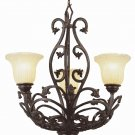 Dark Bronze Chandelier with Champagne Frost Ribbed Glass 3958DBZ