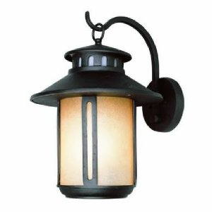 Black Craftsman Outdoor Wall Lantern with Amber Glass 5952BK