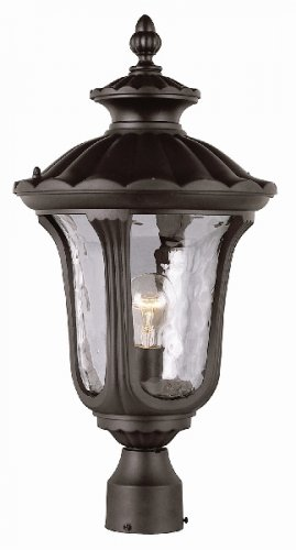 Trans Globe Black Outdoor Post Top Lantern with Water Glass 5913BK