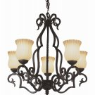 Trans Globe Bronze Chandelier with Ribbed and Scalloped Glass 6095WB