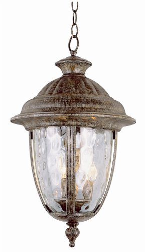Trans Globe Rust Outdoor Hanging Lantern with Water Glass 5906BRT