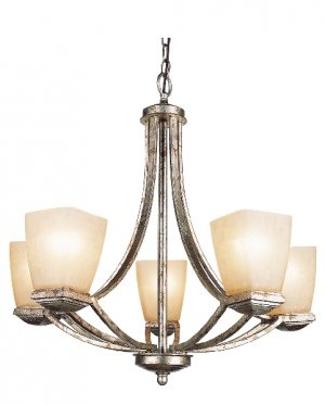 Trans Globe Gold Leaf Chandelier with Champagne Frost Glass 9675GLF