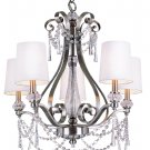 Trans Globe Brushed Nickel and Crystal 5 Light Chandelier 7875BN