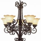 Trans Globe Dark Bronze and Gold Chandelier with Champagne Glass 2285DBG