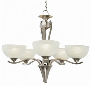 Trans Globe Brushed Nickel Chandelier with Marble Glass 7935BN