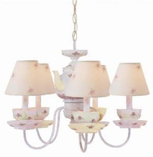 Trans Globe Five Light Teapot and Cup Chandelier KDL-211
