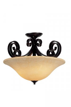Dark Bronze Semi Flush Ceiling Light with Crushed Stone Glass 9913DBZ