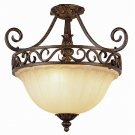 Dark Bronze and Gold Semi Flush Ceiling Light with Ribbed Glass 2282DBG