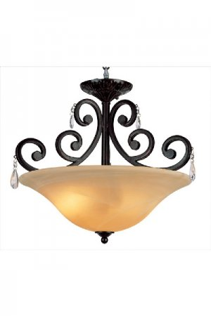 Dark Bronze Semi Flush with 24% Lead Crystal Accents 9933DBZ
