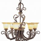 Trans Globe Burnished Gold Chandelier with Amber Iridescent Glass 8406BRG