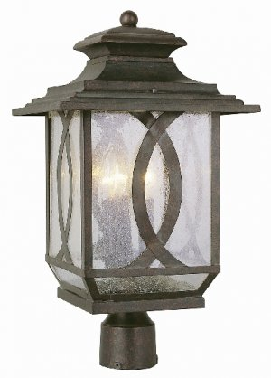 Trans Globe Rust Outdoor Post Top Lantern with Clear Seeded Glass 5194BRT
