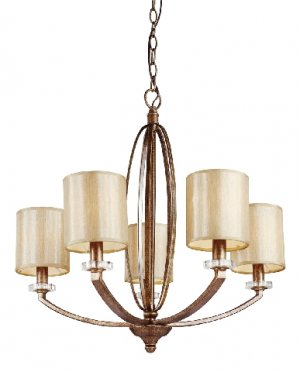 Trans Globe Modern 5 Light Antique Gold Chandelier Model 70135