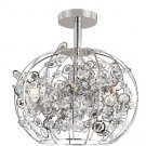 Trans Globe Six Light Crystal Semi Flush Ceiling Light MDN-1010