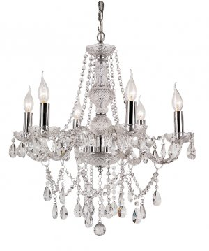 Trans Globe Clear Crystal Six Light Chandelier Model HU-6SL