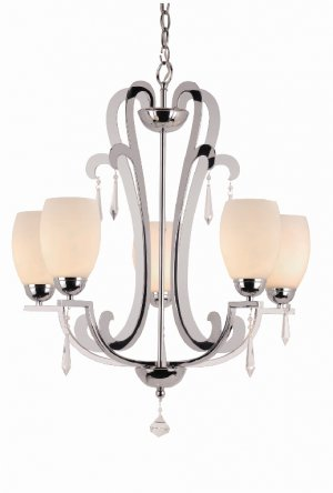 Trans Globe Crystal Drop Five Light Chandelier Model 1085