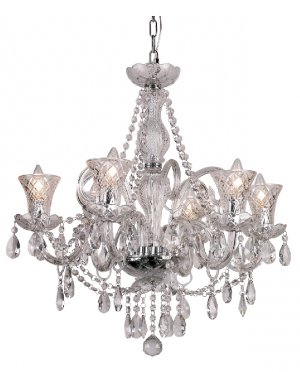 Trans Globe Traditional Crystal Six Light Chandelier HX-6