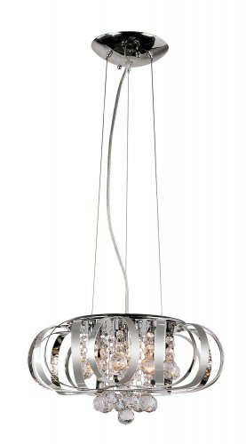 Trans Globe Chrome Adjustable Pendant with Clear Crystal MDN-1101