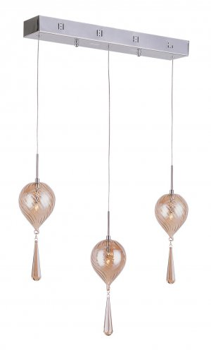 Trans Globe Chrome Adjustable Pendant with Gold Swirl Glass PND-925