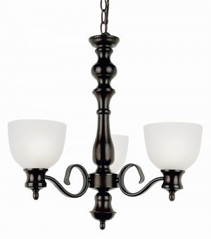 Trans Globe Oil Rubbed Bronze Chandelier with Frosted Glass 7293ROB
