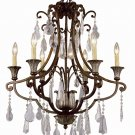 Trans Globe Bronze Chandelier with Crystal Components 3966BZ