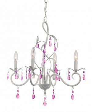 Trans Globe Girls White Chandelier with Purple Crystal KDL-857