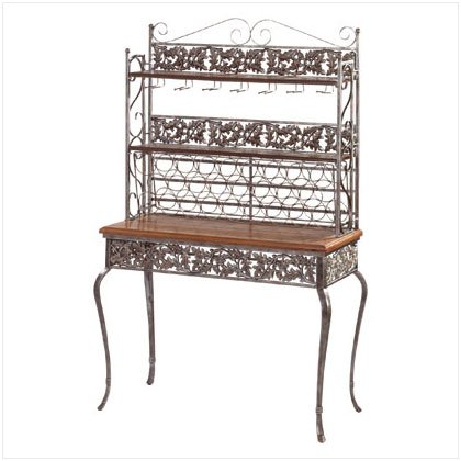 Wrought Iron and Wood Entertainment Bar - D