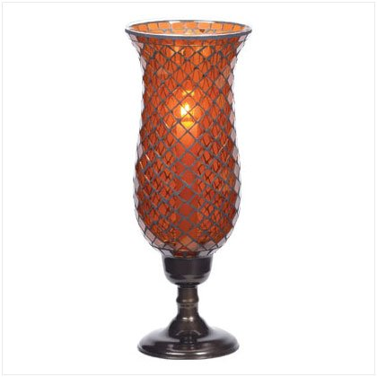 Tall Amber Mosaic Candleholder