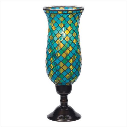 Tall Turquoise Mosaic Candleholder