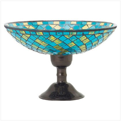 Turquoise Mosaic Compote - D