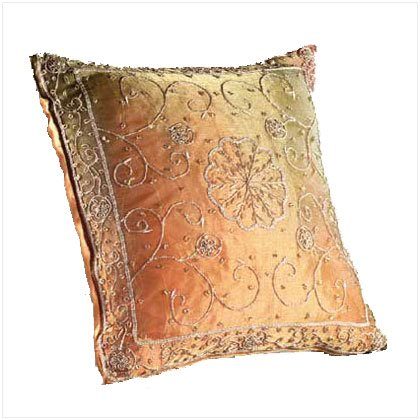 Embroidered Beadwork Accent Pillow