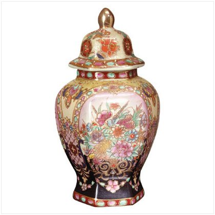 Asian Inspired Porcelain Ginger Jar - D