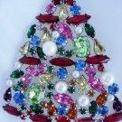 Designer Multicolor special stones pearls xmas tree pin