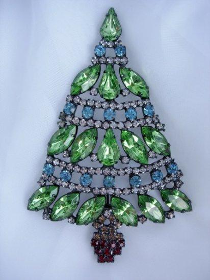 Fabulous Aqua Peridot rhinestone christmas tree pin