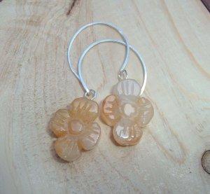 Sterling silver and Jade flowers earrings